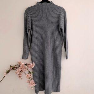 Mockneck ribbed gray sweater dress